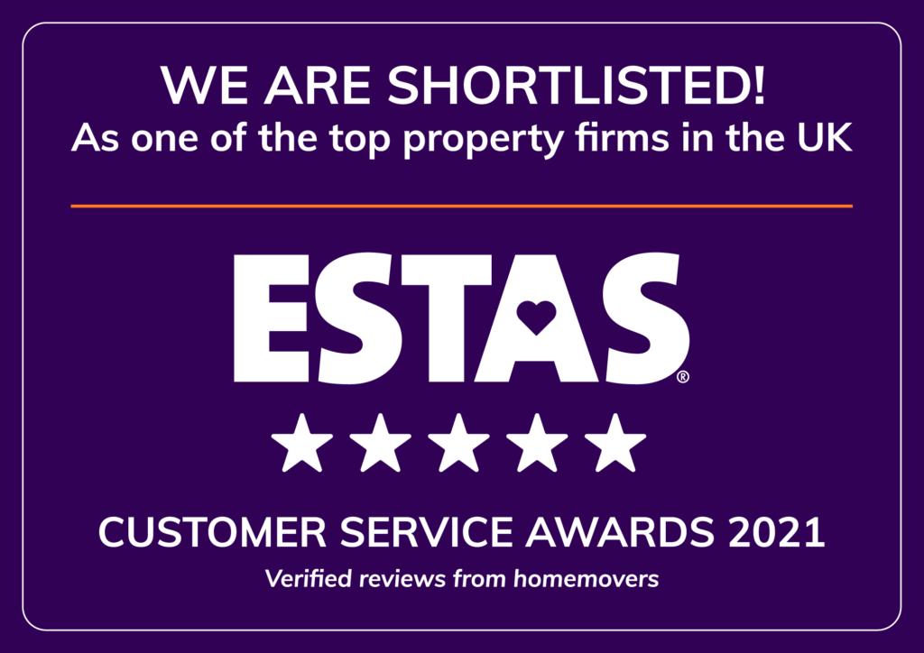 ESTAS customer service awards 2021, shortlisted badge, 5 stars, we are shortlisted as one of the top property firms in the UK